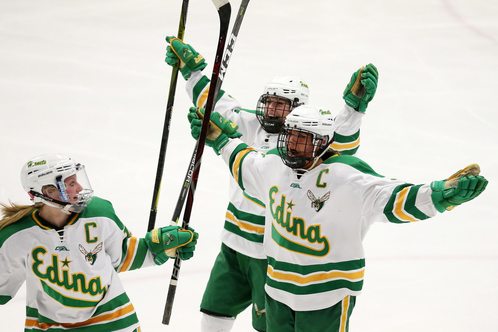 Edina forward Emily Oden (16) celebrated after scoring in the third period against Blake in the Hornets' 4-2 victory in the Class 2A, Section 6 championship. Photo: ANTHONY SOUFFLE • anthony.souffle@startribune.com