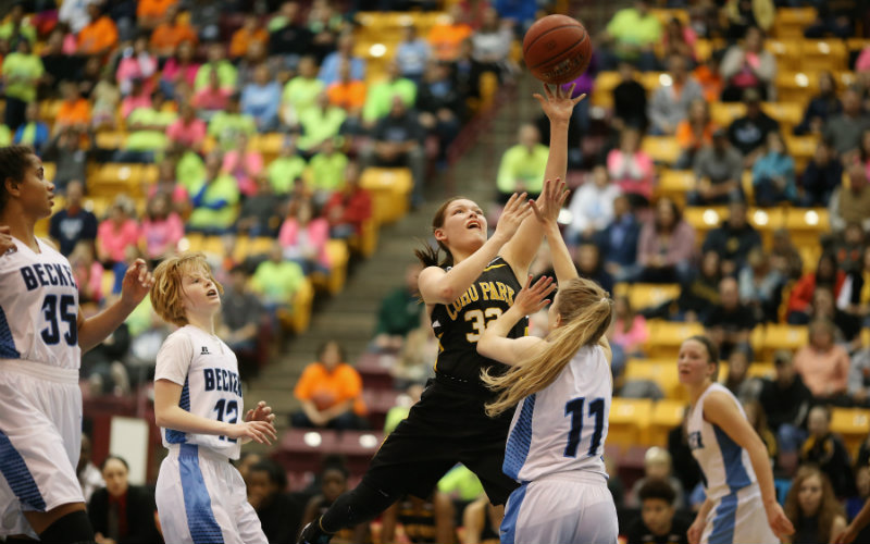 Makayla VanNett (32) will look to lead St. Paul Como Park to its fourth-straight conference championship on Tuesday against St. Paul Central. 2016 state tournament photo by Jerry Holt, Star Tribune