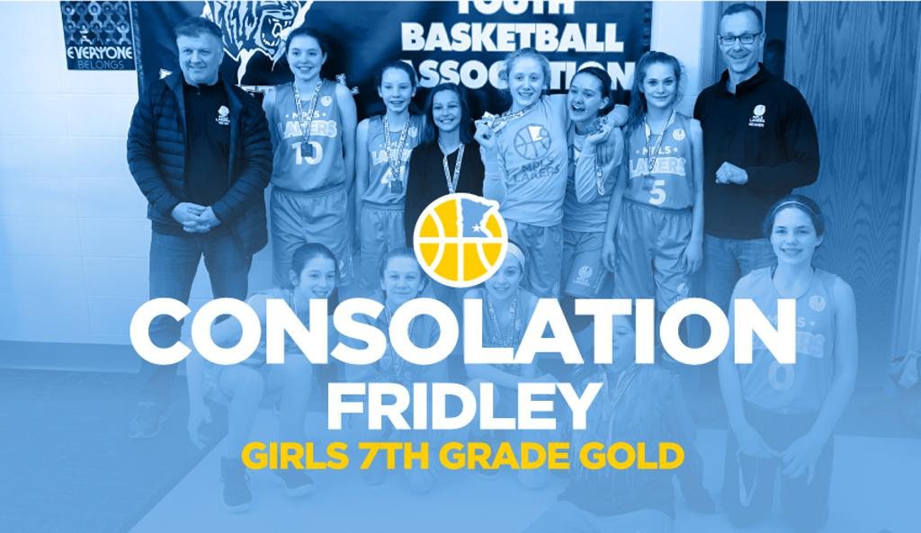 Girls 7th Grade Gold win Consolation at Fridley graphic