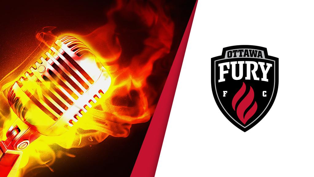 MIcrophone in flames beside Fury FC crest logo.