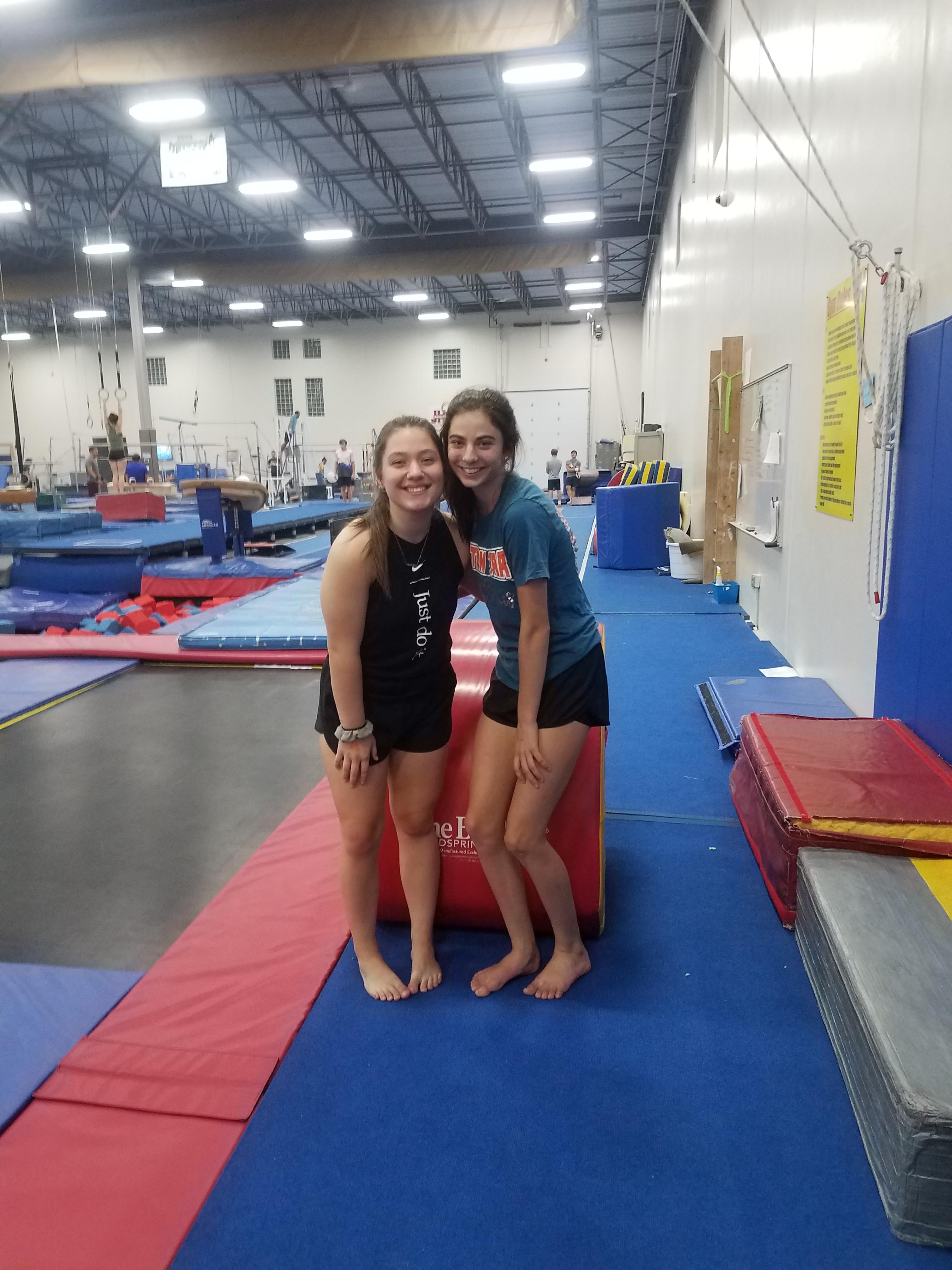Two women enjoying open gym time