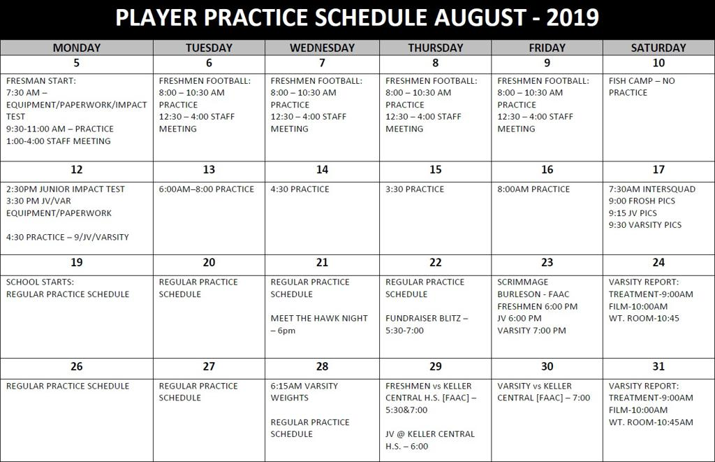2019 Practice Schedule