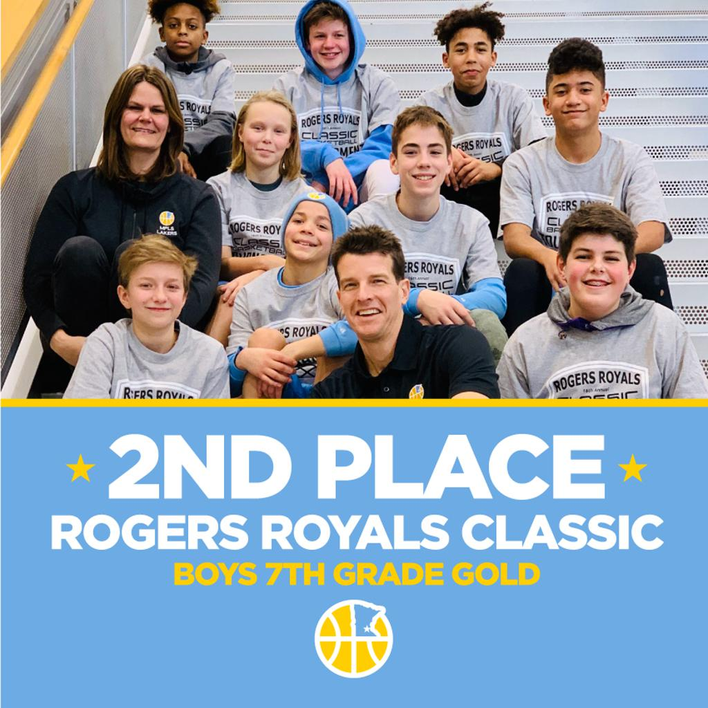 Minneapolis Lakers Boys 7th Grade Gold pose with their hardware after taking 2nd at Rogers Royals Classic