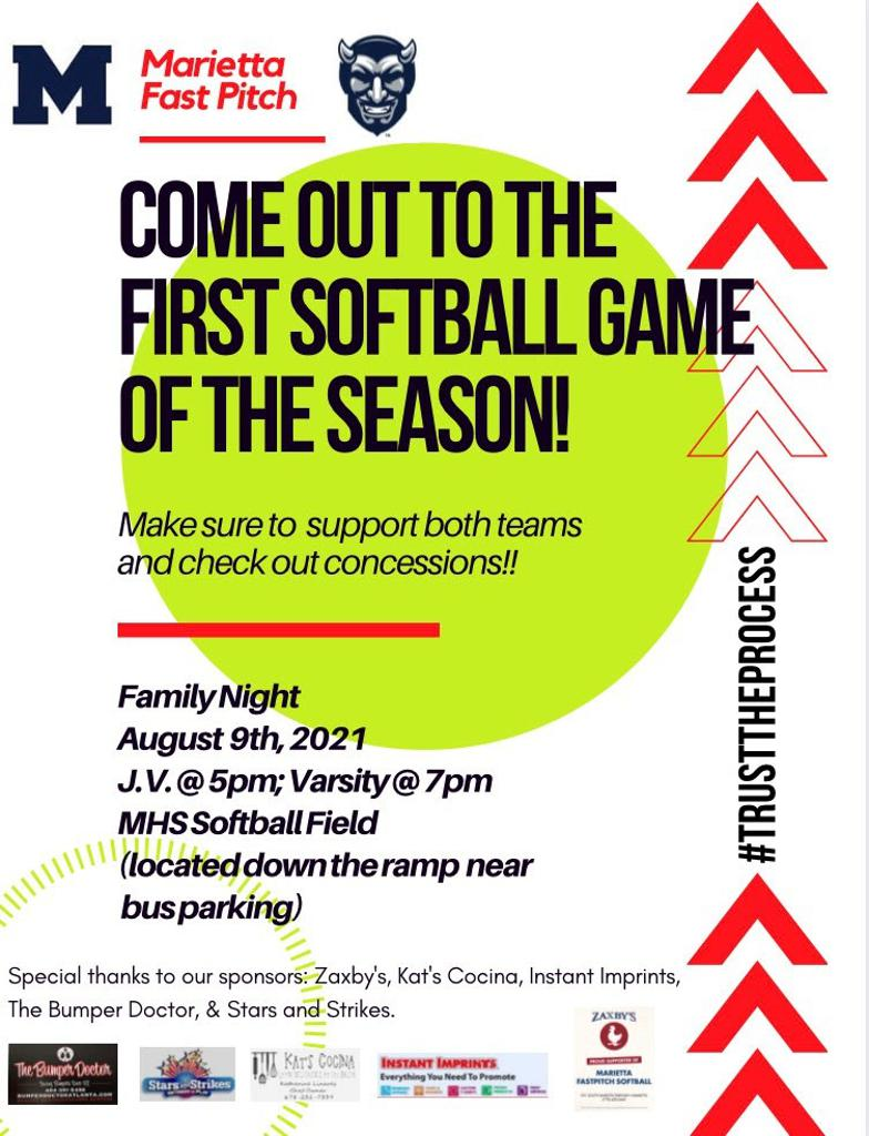 Marietta High School Softball first home games are today at 5pm and 7pm!