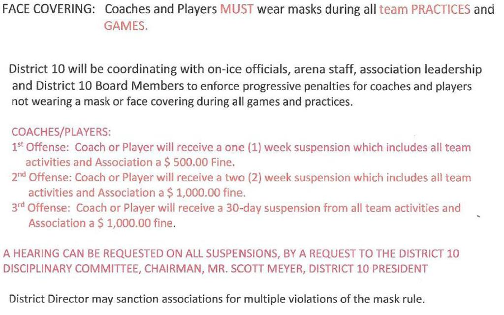 District 10 Face Mask Penalties and Fines