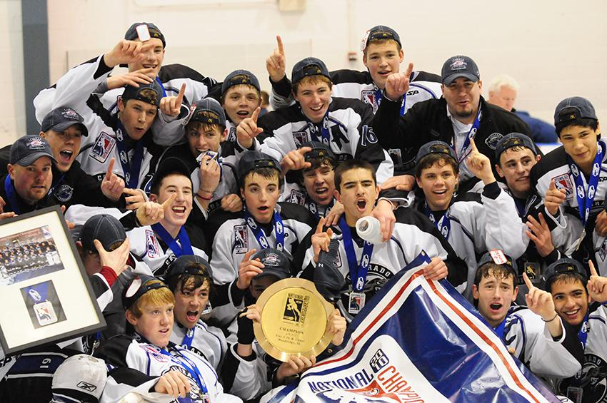 Members of the Colorado Thunderbirds' 16U squad celebrate winning their Tier 1 national title in April 2010. All photos courtesy of Stacey Smith