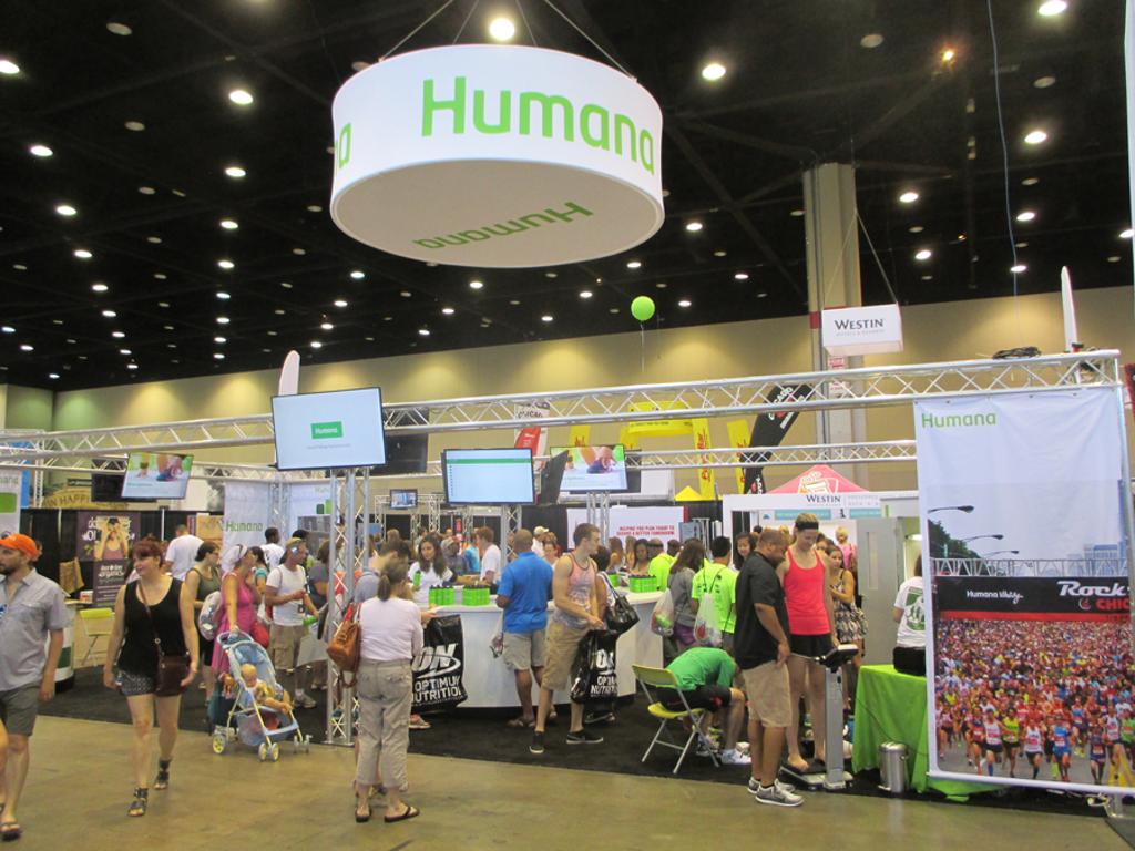 Humana logo seen above a race expo
