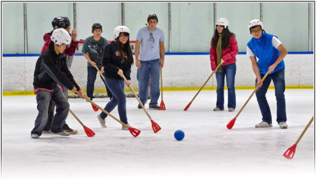 Broomball Action Photo