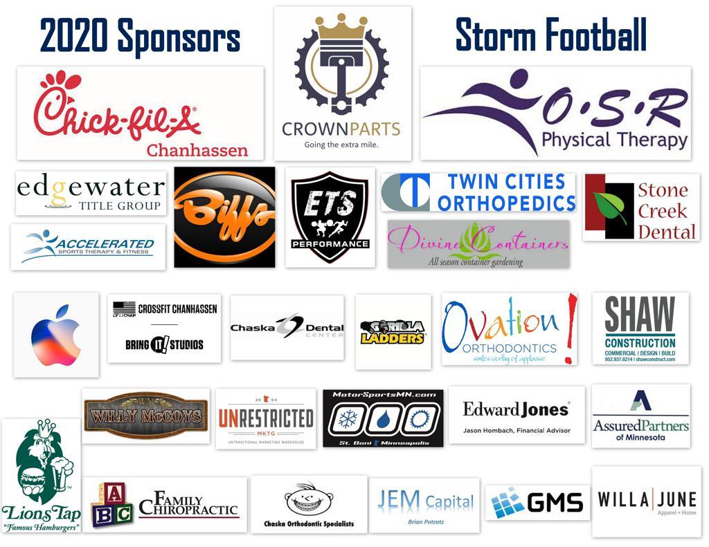 2020 Storm Football Sponsors