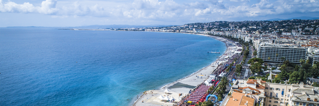 BIrd's eye view of the Promenade des Anglais, the city center and the Mediterranean Sea of Nice France