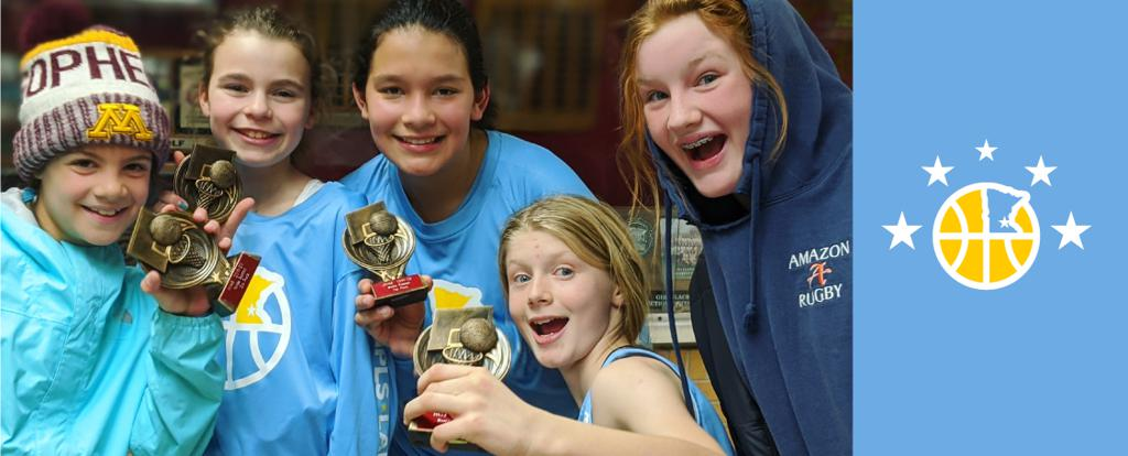 Minneapolis Lakers Girls 6th Grade Gold pose with their trophies after earning 2nd place at the Irondale Winter Shootout tournament in New Brighton, MN