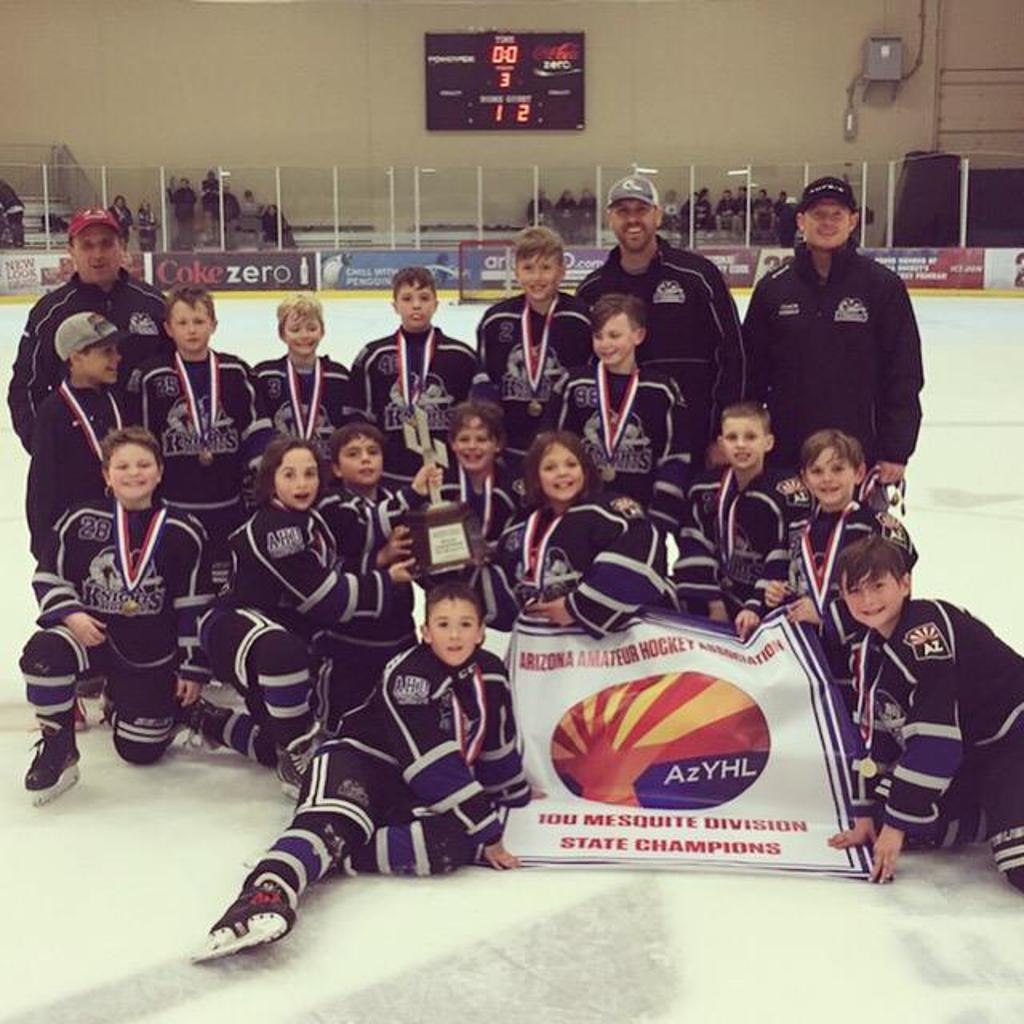 CONGRATULATIONS TO THE AHU 10U White team the 2018-19 ARIZONA TRAVEL HOCKEY  STATE CHAMPIONS - 10U Mesquite Division
