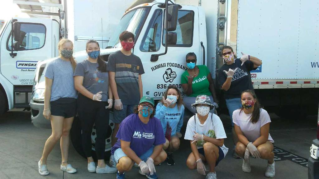 Volunteering at the Hawaii Food Bank Aug 29 2020