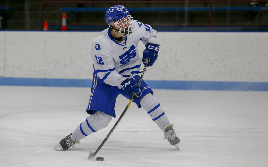 St. Thomas Academy's Ryan O'Neill fires a shot on net against Minnetonka. The Cadets fell to the Skippers 4-1 in the season opener for both teams. Photo by Jeff Lawler, SportsEngine
