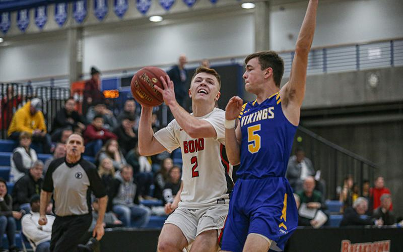 Gavin Vosika (2) and his BOLD teammates are coming off a holiday tournament victory over No. 1-1A Henning. The Warriors look to keep the momentum going Friday against Minnewaska Area. Photo by Mark Hvidsten, SportsEngine