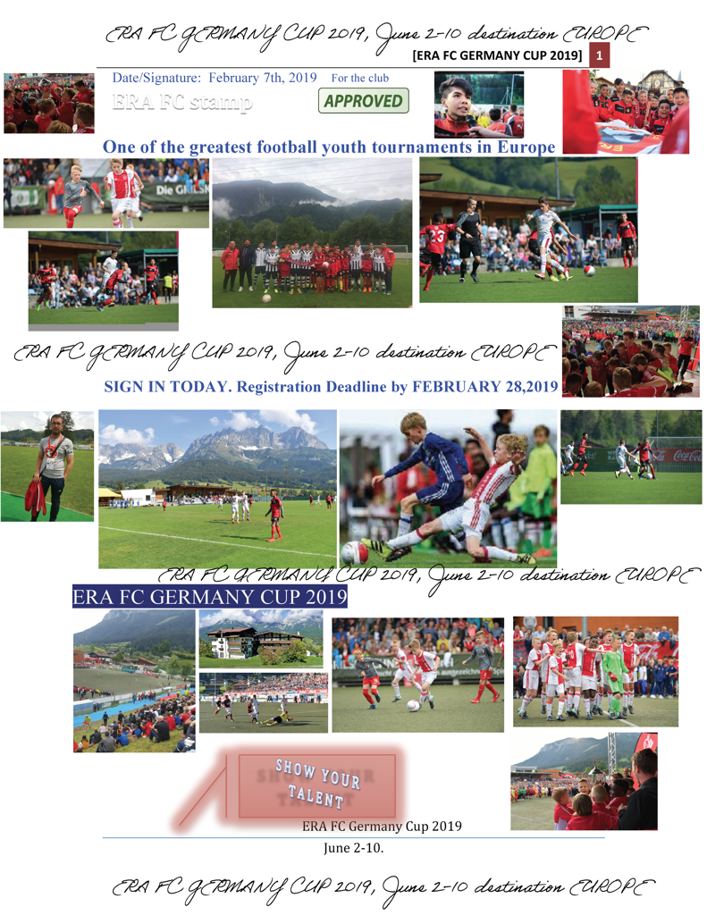 We cordially invite you to participate to Cup 2019. Reserve Your Spot by February 28th for U15-2004/2005 Team. One of the greatest football youth tournaments in Europe!