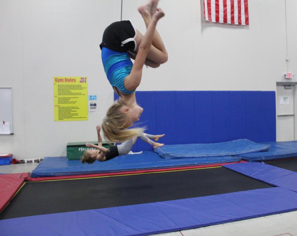 Gymnast doing a backflip on the trampoline
