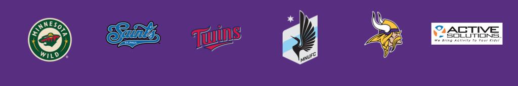 Minnesota Wild, St. Paul Saints, Minnesota Twins, TC United, Minnesota Vikings, Active Solutions logos