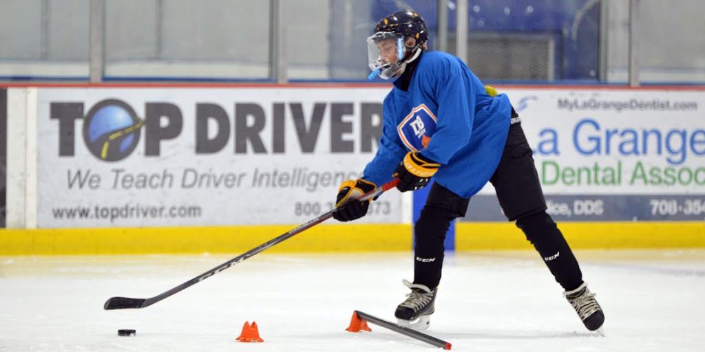 Hockey player stickhandling