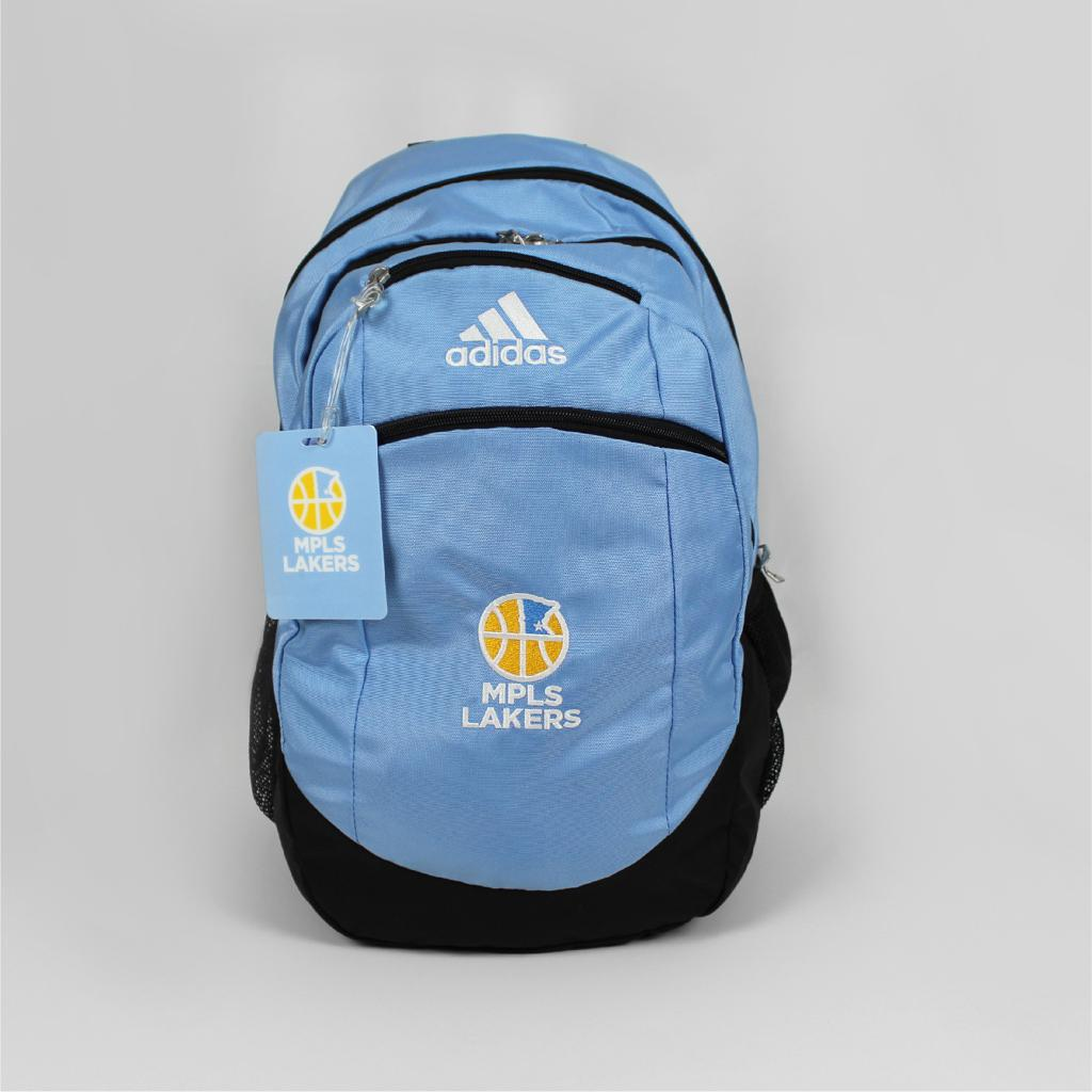 Mpls Lakers backpack for players, features an embroidered logo - Front View