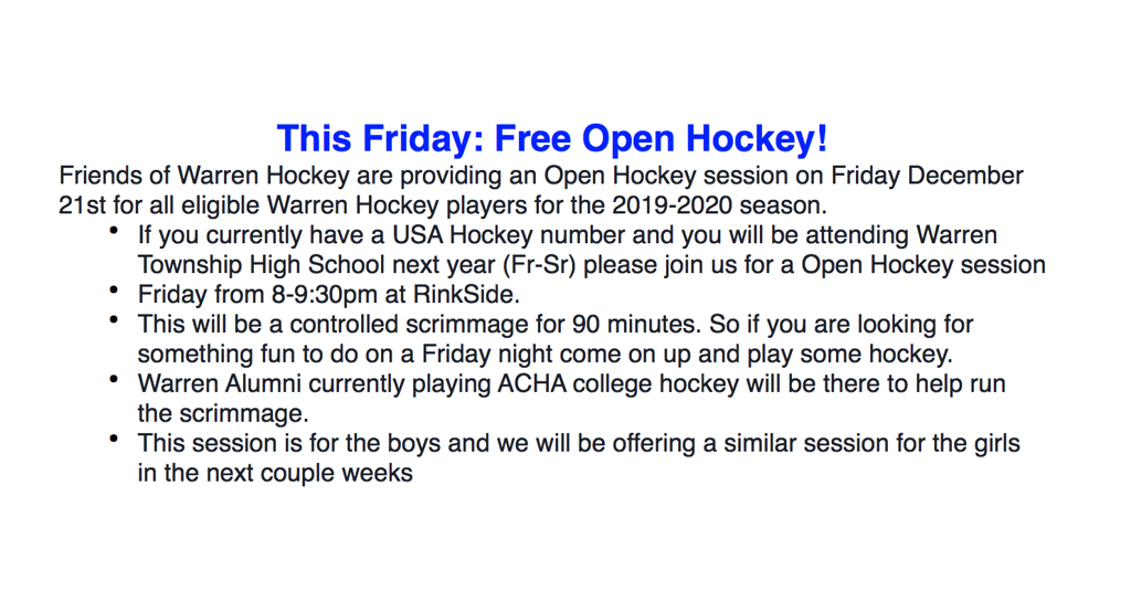 COME OUT TO RINKSIDE 12/21 FOR FREE OPEN HOCKEY