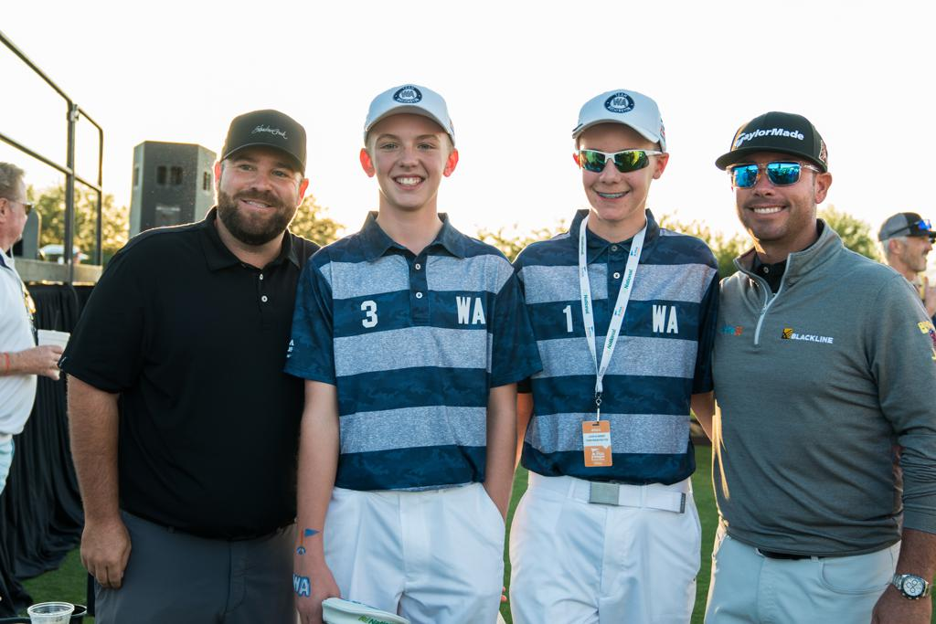 Colt Knost (far left) and Chez Reavie (far right) with Team Washington's Baylor Larrabee (3) and John Kummer (1). (Photo by Darren Carroll/PGA of America)