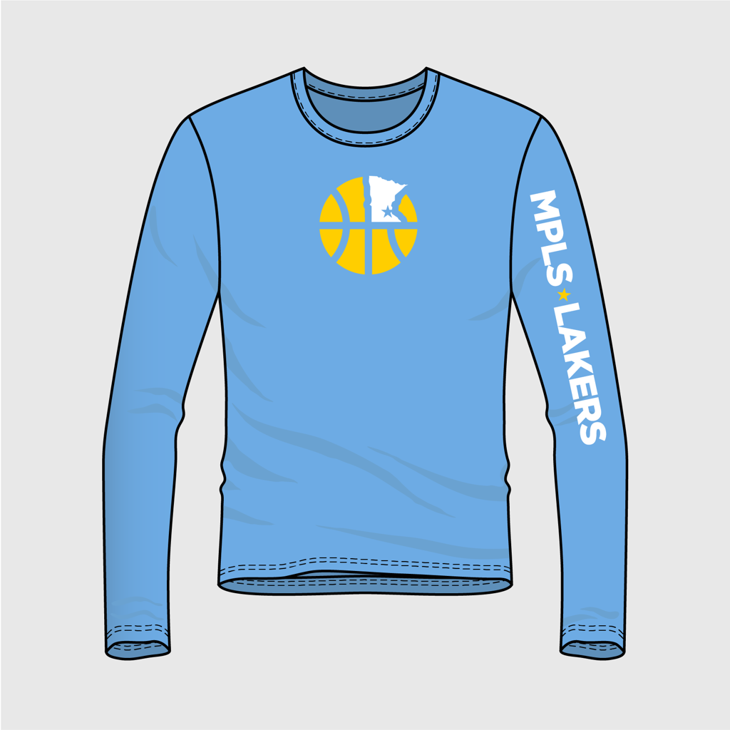Official Mpls Lakers Youth Traveling Basketball Program Inc apparel and gear in Minneapolis, MN: Blue shooting shirt with logo and text on front & sleeves