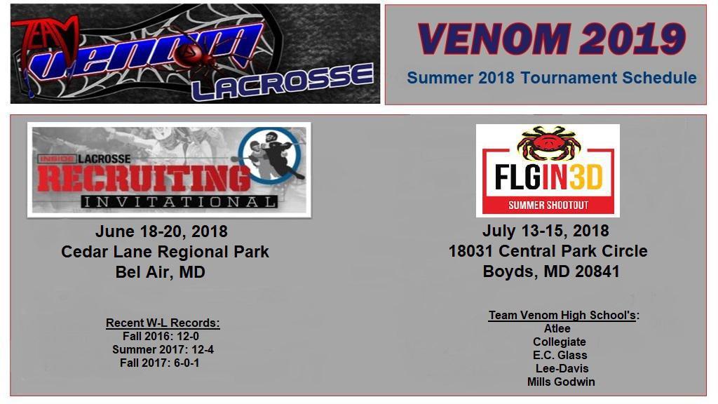 Team Venom - 2018 Summer Tournament Schedule