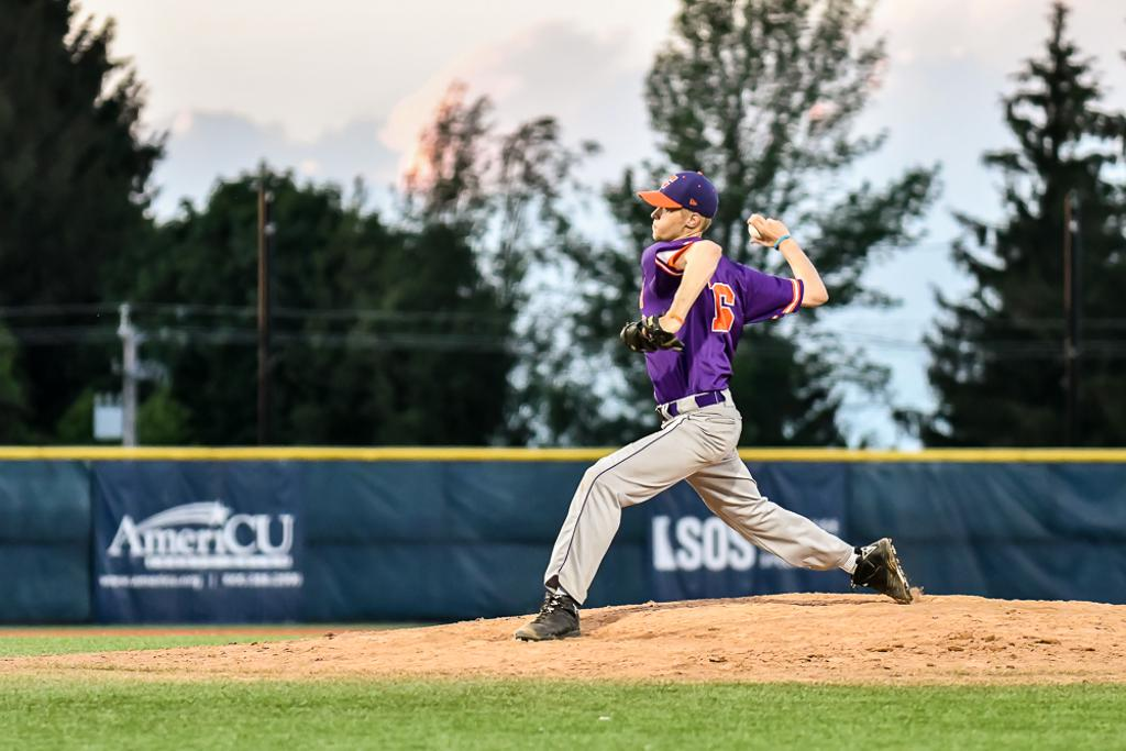 Cortland Crush Zach Kemp (16) pitching against the Syracuse Salt Cats in New York Collegiate Baseball League action at OCC Turf Field in Syracuse, New York on Saturday, June 29, 2019. Cortland won 4-1.