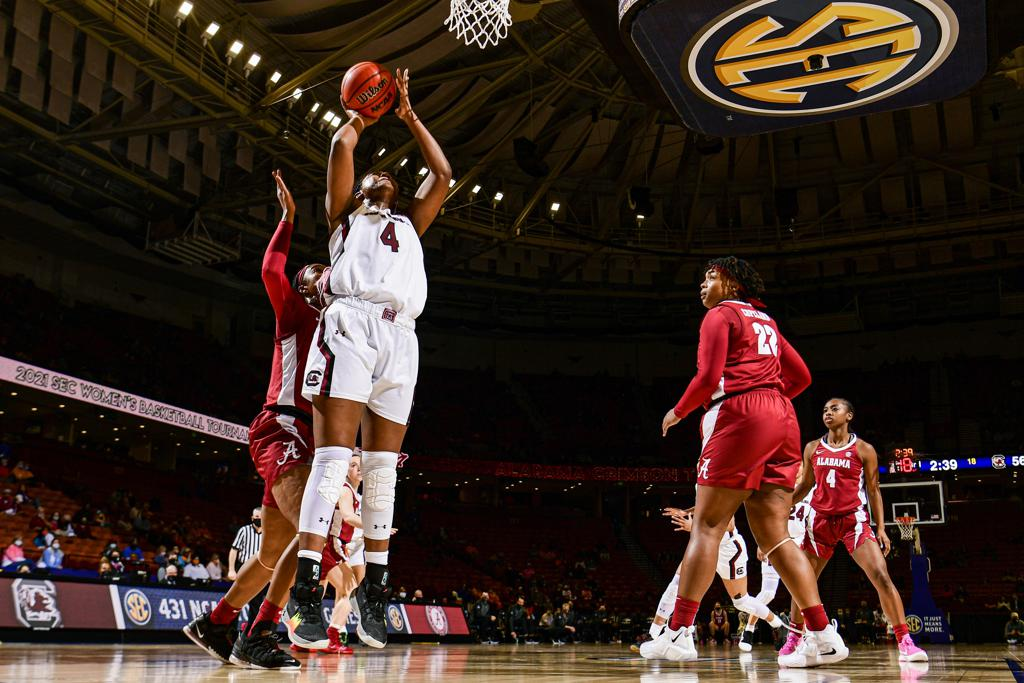 2021 SEC Women's Basketball Conference Tournament Highlights and Results UCS's Aliyah Boston (4) goes up for a shot