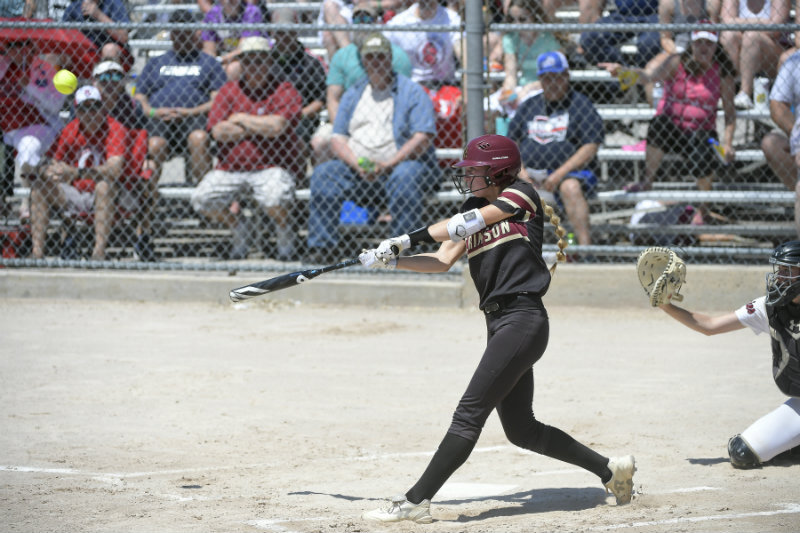 Maple Grove's Ava Dueck (26) smacks a home run against Stillwater in the bottom of the first inning of last year's Class 4A state championship game. Photo by Aaron Lavinsky, Star Tribune