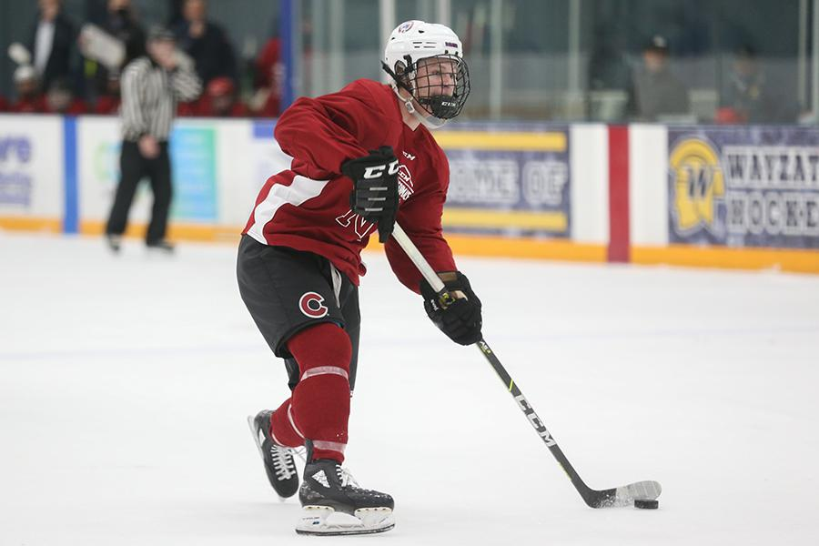 Team Colorado's Riley Hunt-Bahn gets off a shot during the first period of Thursday's boys' CCM High School NIT game against the Michigan Seniors. Hunt-Bahn opened the scoring in Colorado's 7-2 loss to Michigan. Photo by Jeff Lawler, SportsEngine