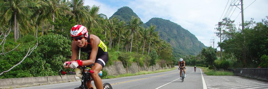 Biker participating in IRONMAN 70.3 Taiwan