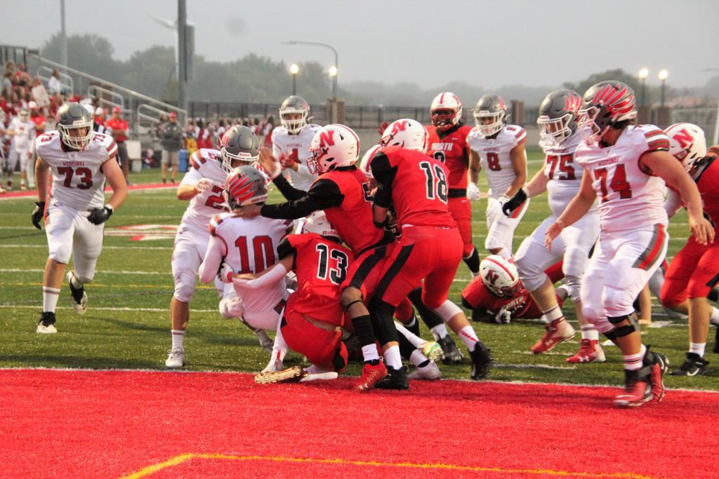Tyler Von Bank scoring one of his three rushing touchdowns.