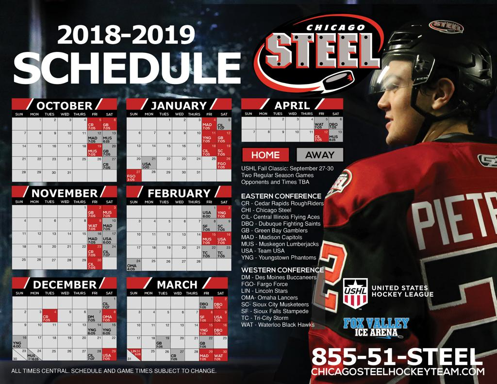 Chicago Steel 2018 2019 Regular Season Schedule Announced