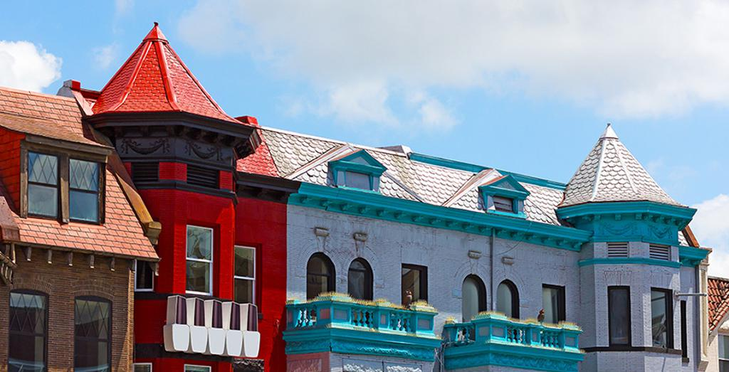 Red white and blue buildings