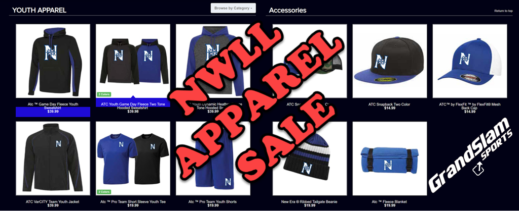 GrandSlam Sports NWLL Apparel Sale with items from the junior catalog