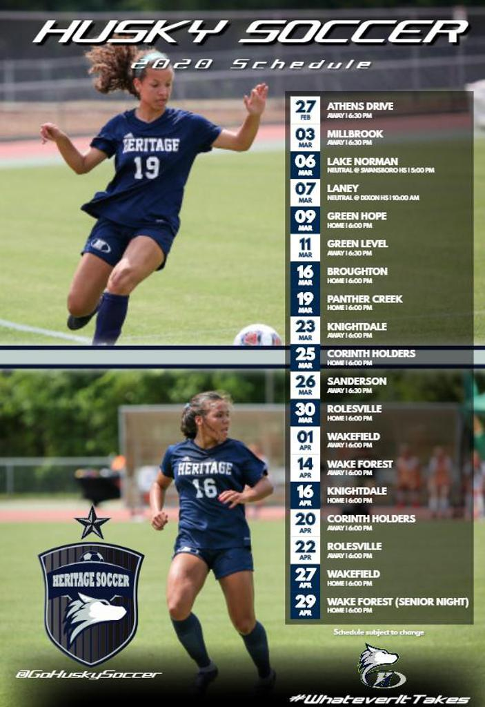 heritage women's soccer schedule graphic