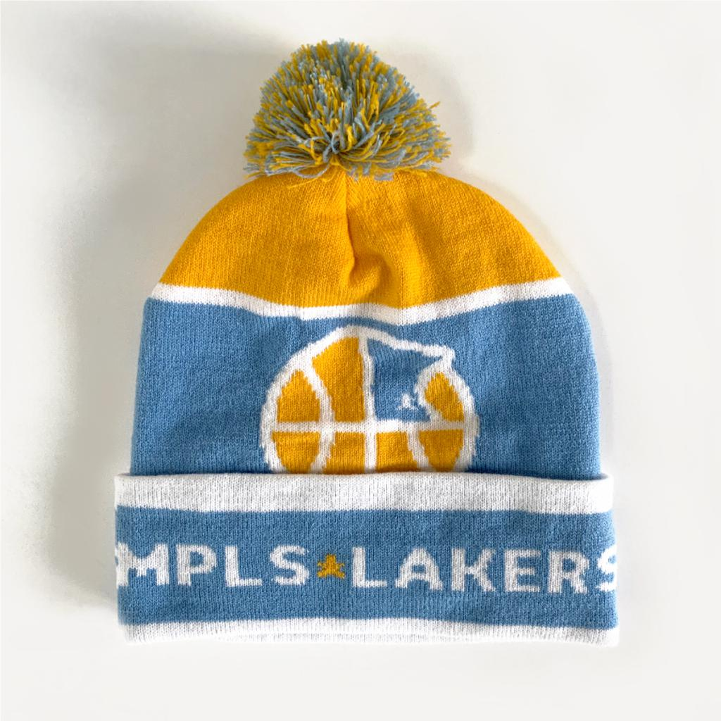 Mpls Lakers stocking cap with in-stitch lettering and  logo