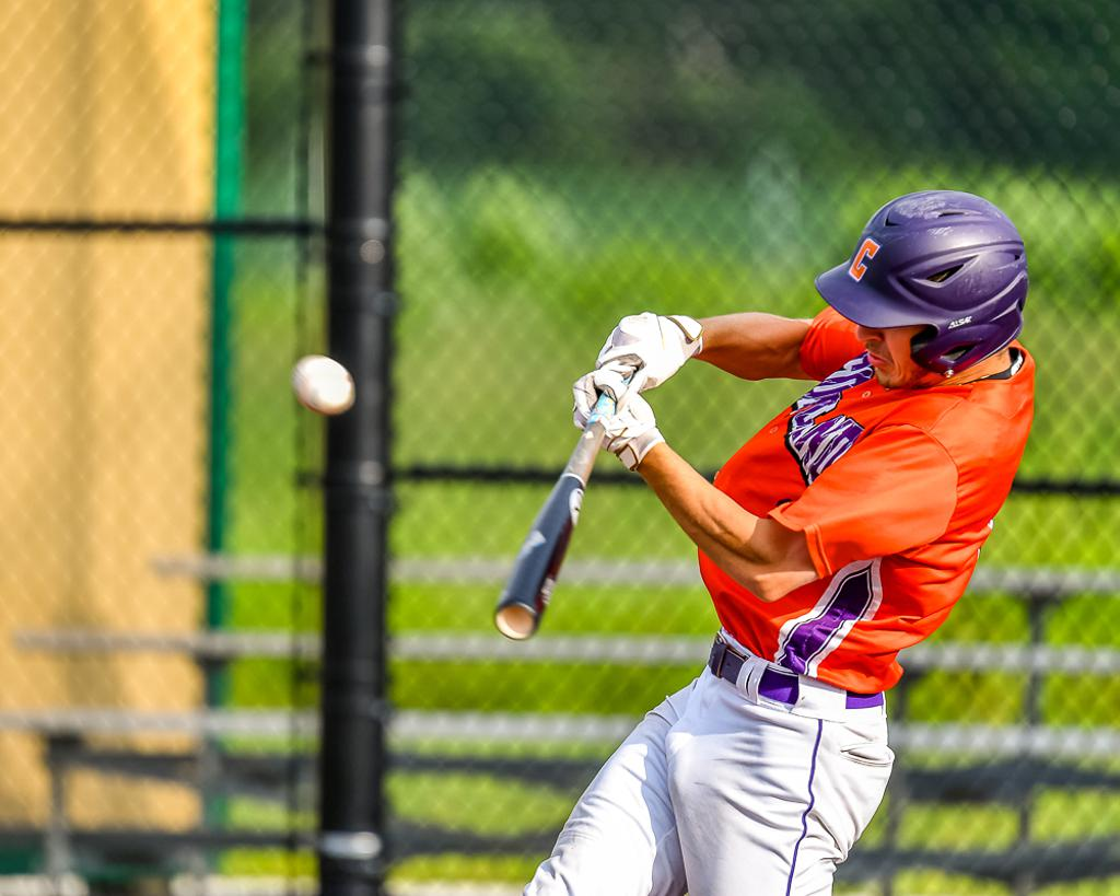 Cortland Crush Nicholas Pastore (1) hits the ball against the Sherrill Silversmiths in New York Collegiate Baseball League action at Gutchess Lumber Sports Complex in Cortland, New York on Thursday, July 12, 2019. Sherrill won 6-3.