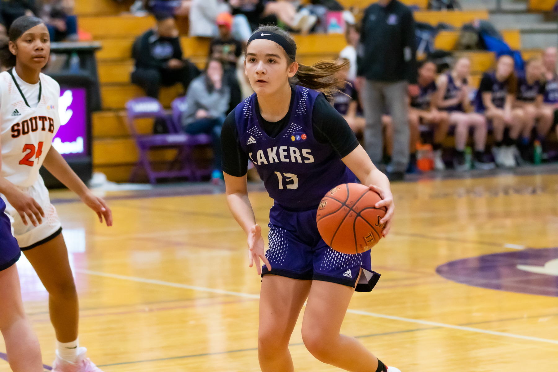Minneapolis Southwest's freshman guard Virginia Johnson led the Lakers with 11 points in a 63-29 loss to visiting Minneapolis South. Photo by Gary Mukai, SportsEngine