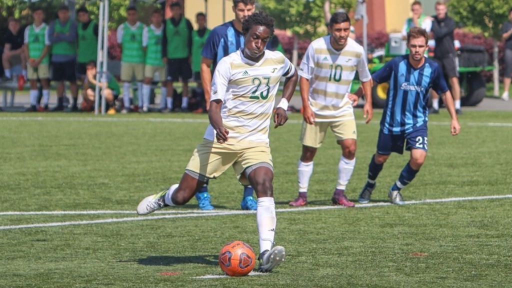 Kwesele played 31 matches across two seasons for Humboldt State University. (Photo courtesy of Thomas Allie/HSU)
