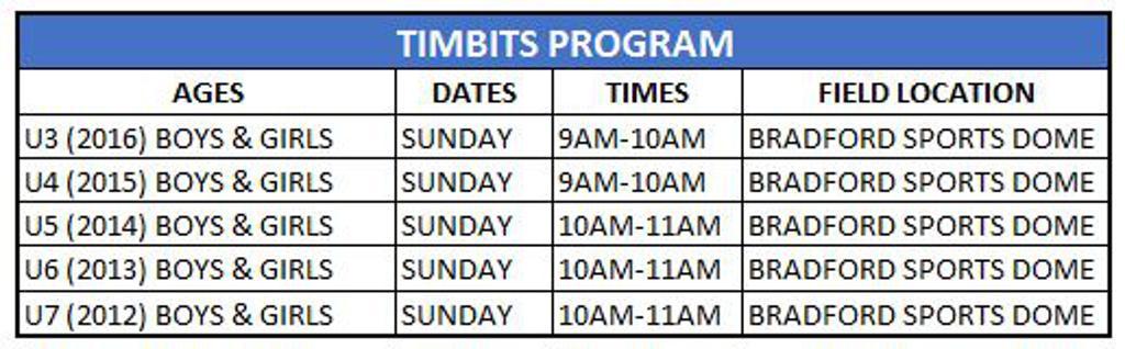 TIMBITS PROGRAM DATES
