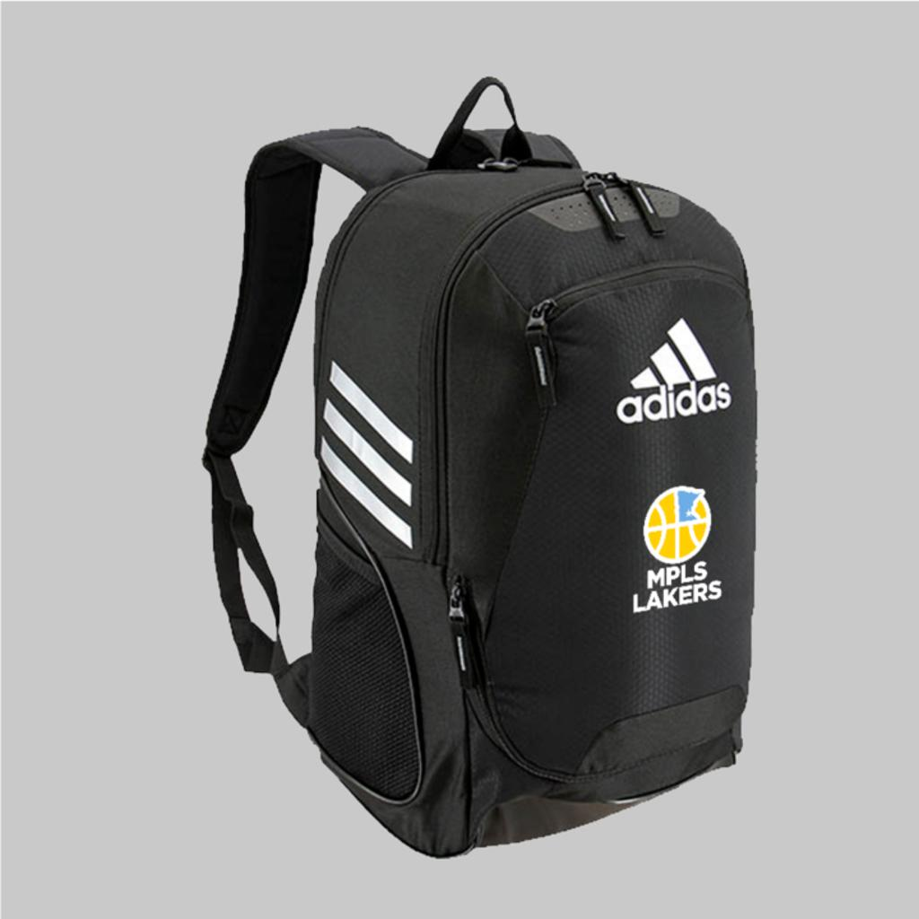 Black Mpls Lakers backpack for players, features an embroidered logo - Front View