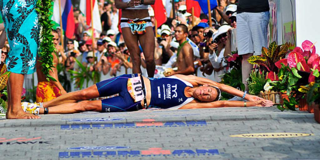 Chrissie Wellington rolling across IRONMAN World Championshipthe finish line