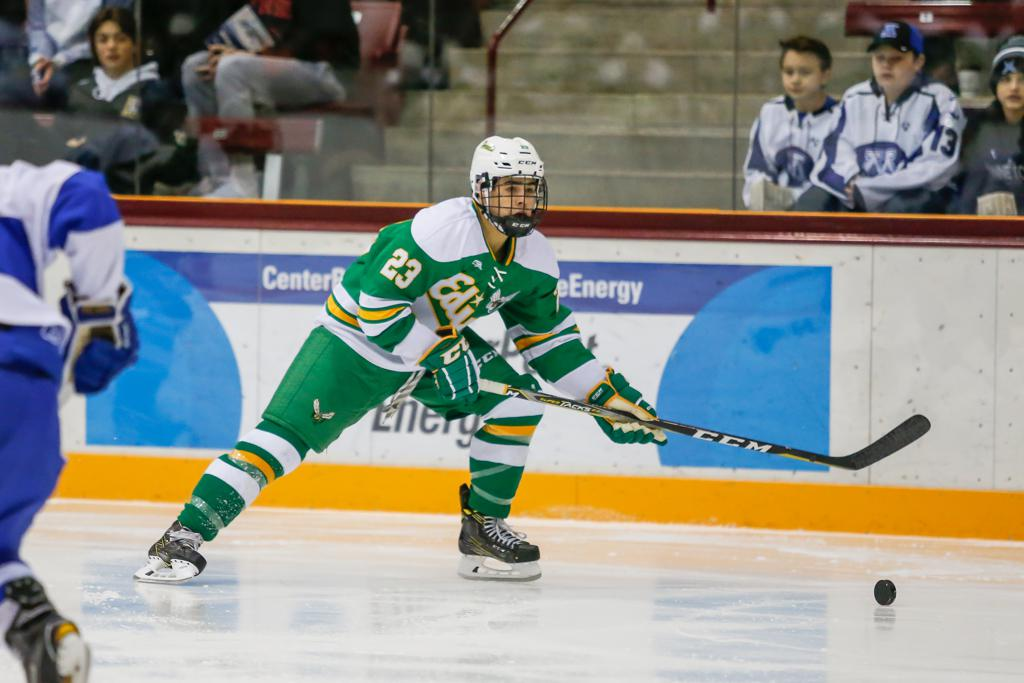 Edina's Demetrios Koumontzis was taken by the Calgary Flames in the fourth round of this year's NHL Draft. The Arizona State commit is coming off a strong senior season with the Hornets. Photo by Mark Hvidtsen, SportsEngine.