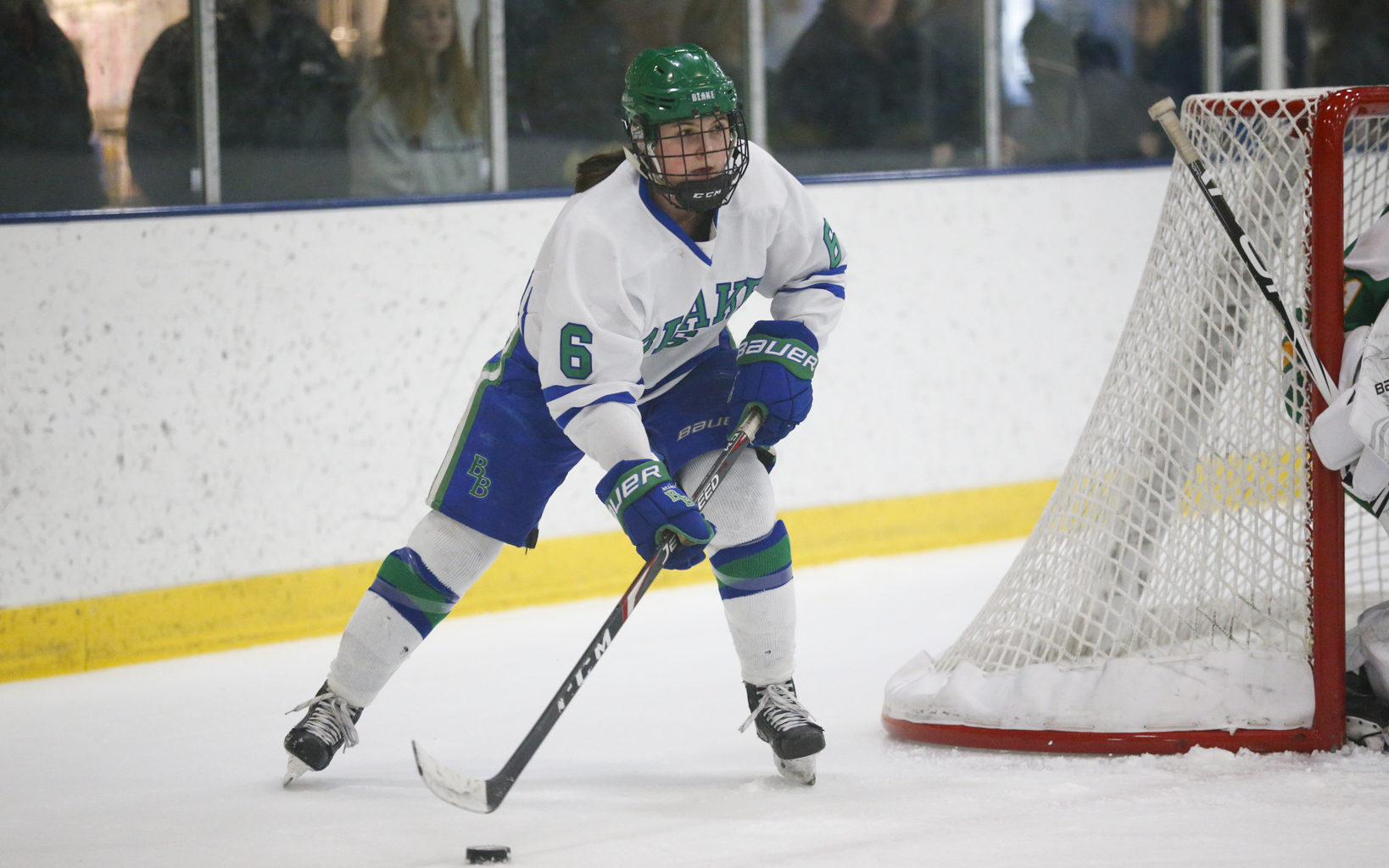 Blake's Audrey Wethington (6) skates from behind her own net against Edina Saturday afternoon. Wethington scored the Bears' goal in their 4-1 loss to the Hornets. Photo by Jeff Lawler, SportsEngine