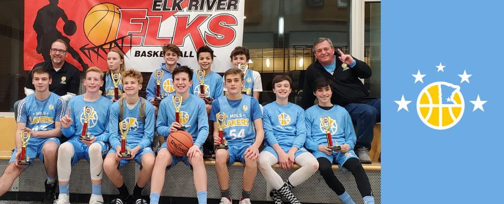 Minneapolis Lakers Boys 8th Grade Blue pose with their Trophies after becoming the Champions at the Elk River Elks Classic tournament in Elk River, MN