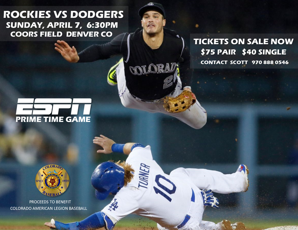 CR vs LAD Opening Weekend Game Tickets - April 7th