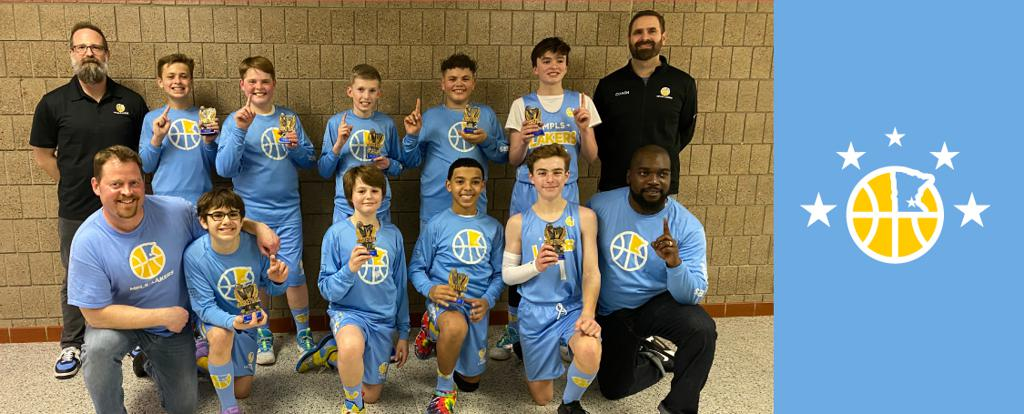 Mpls Lakers Youth Traveling Basketball Program Inc Boys 7th Grade Black pose with their Trophies after becoming the Champions at the Park Center Winter Shootout tournament in Brooklyn Center, MN